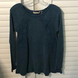 Soft Surroundings Camden teal waffle thermal, S